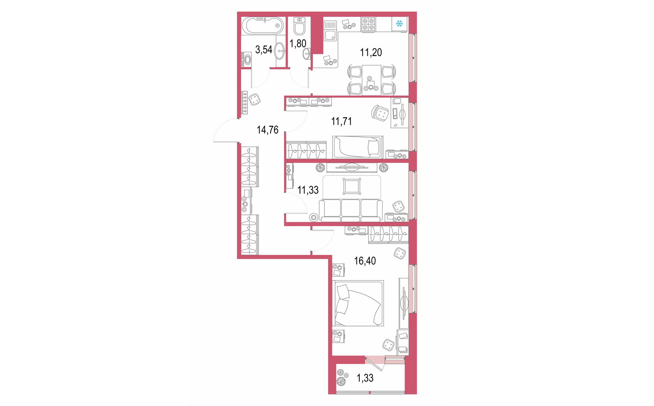 Планировка Трёхкомнатная квартира площадью 72.07 кв.м в ЖК ««Геометрия»»