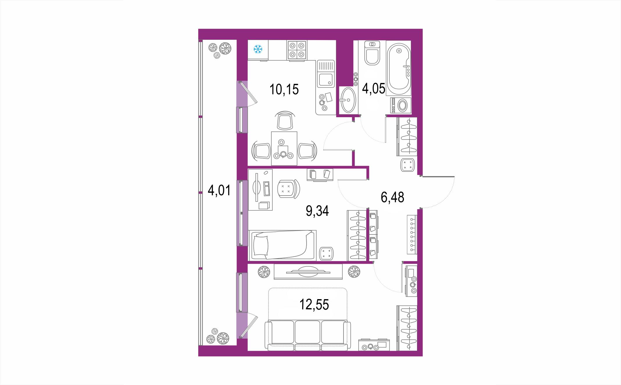 Планировка Двухкомнатная квартира площадью 46.58 кв.м в ЖК ««Геометрия»»