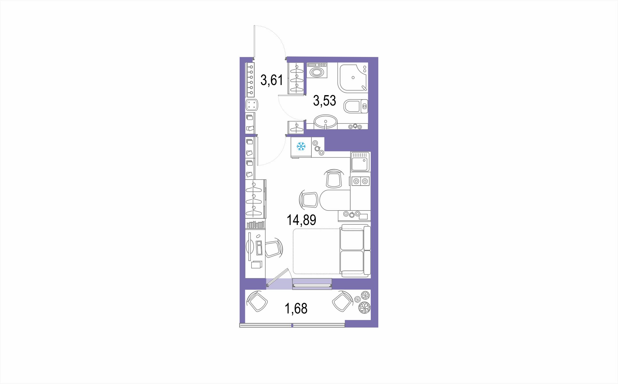Планировка Студия площадью 23.71 кв.м в ЖК ««Геометрия»»