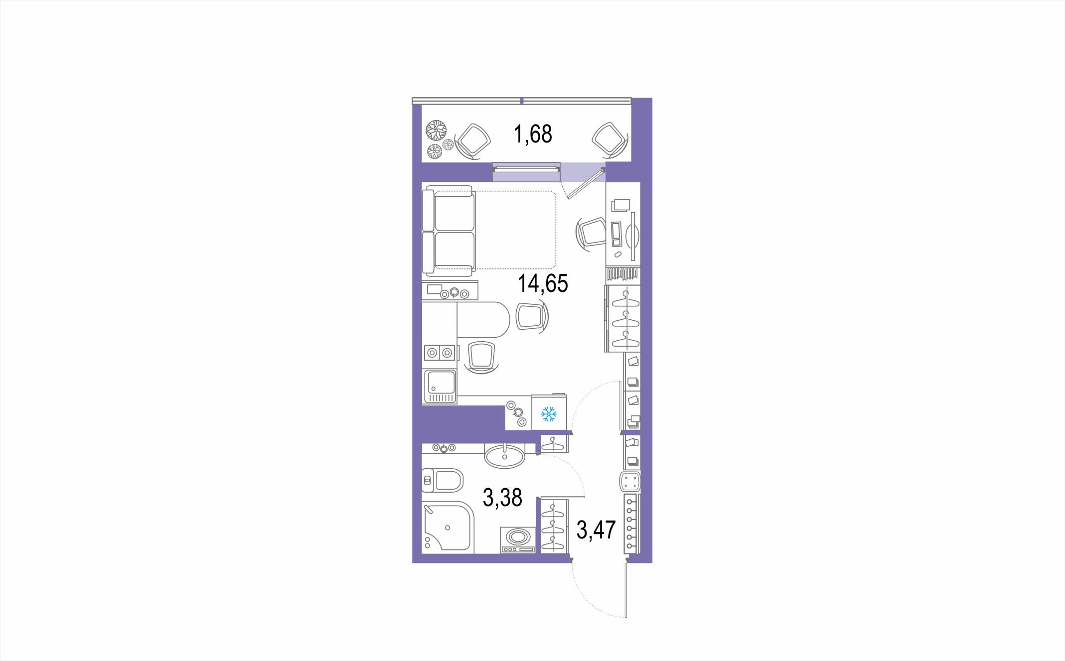 Планировка Студия площадью 23.18 кв.м в ЖК ««Геометрия»»