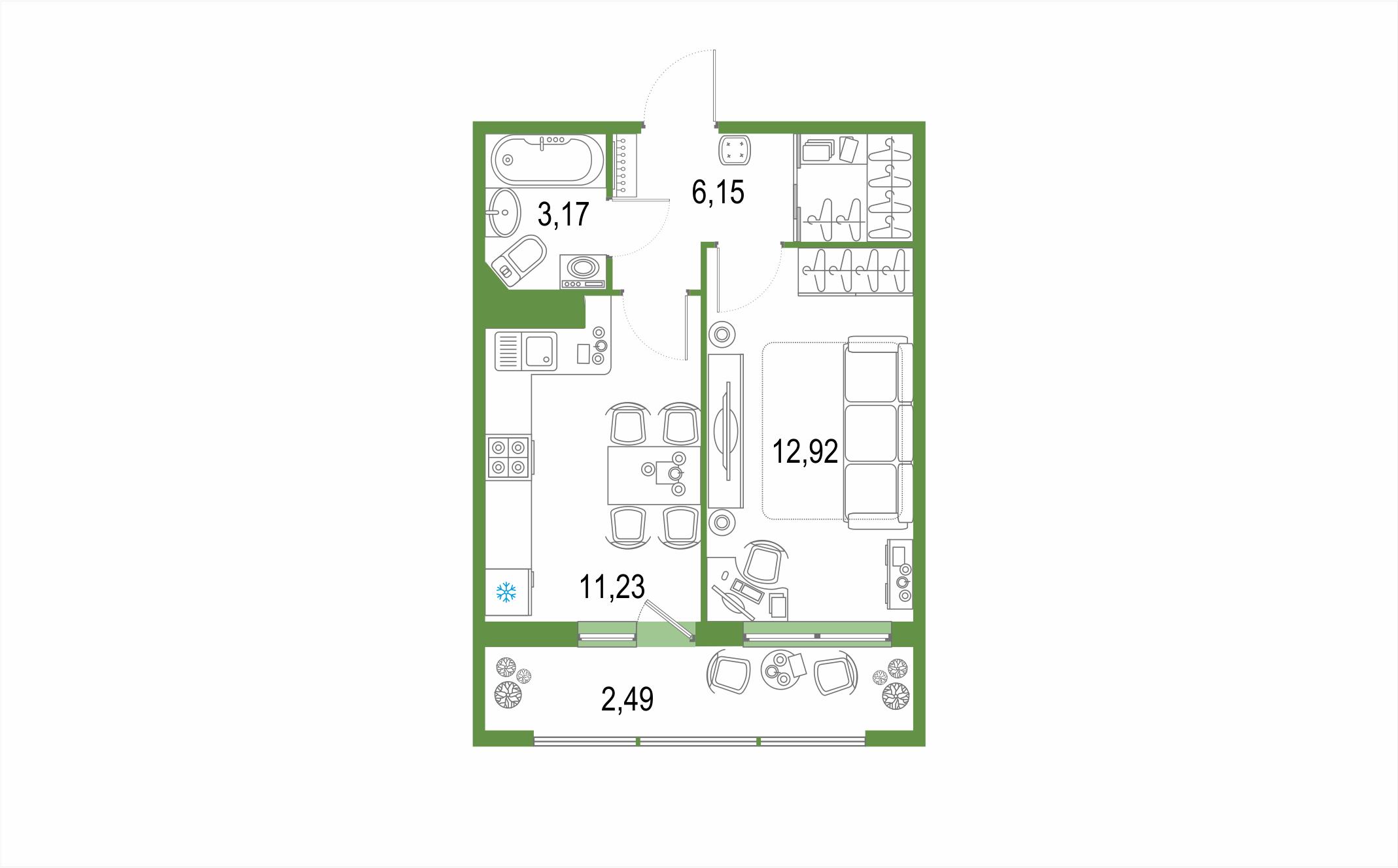Планировка Однокомнатная квартира площадью 35.96 кв.м в ЖК ««Геометрия»»