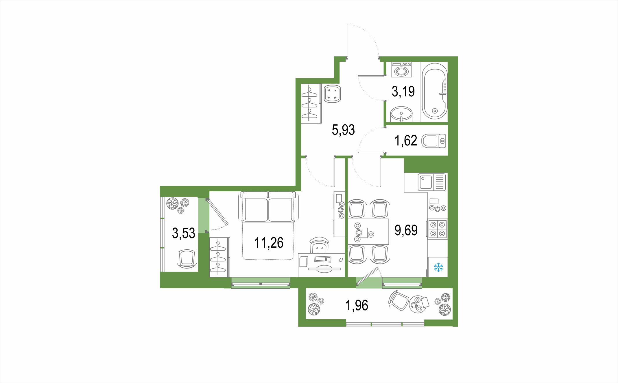 Планировка Однокомнатная квартира площадью 34.64 кв.м в ЖК ««Геометрия»»