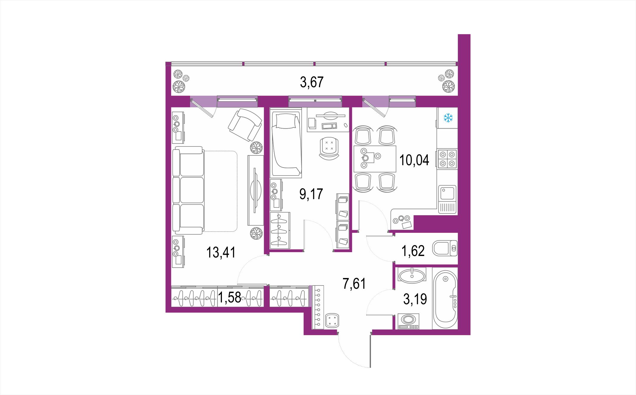 Планировка Двухкомнатная квартира площадью 50.29 кв.м в ЖК ««Геометрия»»