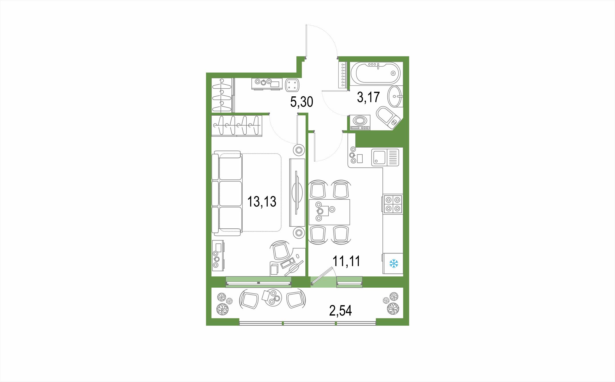 Планировка Однокомнатная квартира площадью 35.25 кв.м в ЖК ««Геометрия»»