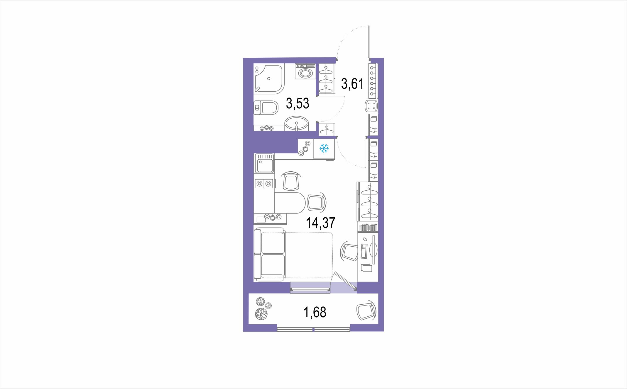 Планировка Студия площадью 23.19 кв.м в ЖК ««Геометрия»»