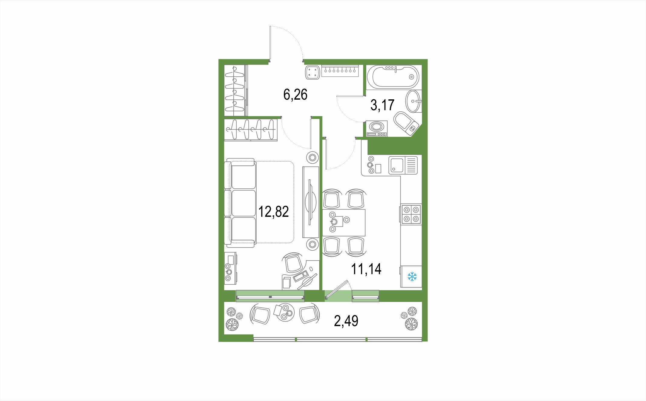 Планировка Однокомнатная квартира площадью 35.88 кв.м в ЖК ««Геометрия»»